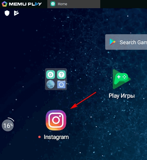 Instagram v MemuPlayer
